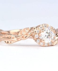 Rose Gold Leaves Diamond Engagement Ring, Floral Leaves Ring
