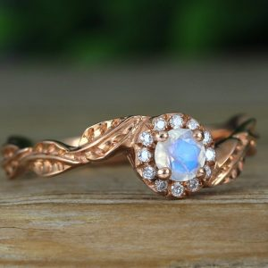 Rose gold moonstone engagement ring, Rainbow moonstone leaf engagement ring