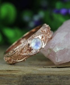 Rose gold moonstone ring, Nature inspired ring