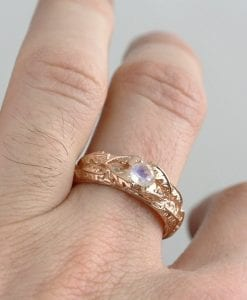 Rose gold moonstone ring, Nature inspired ring