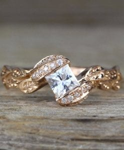 Rose Gold Unique Princess Cut Moissanite Nature Engagement Ring, Leaves Boho