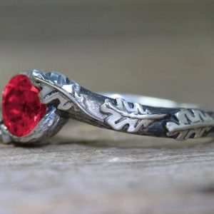 Ruby Leaf Ring, Silver Ruby Leaves Ring