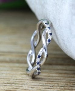 Sapphire and Diamond White Wedding Band, Blue Sapphire Infinity Diamond Wedding Ring