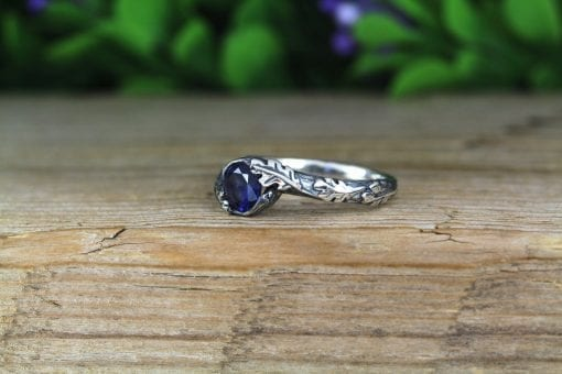 Sapphire Leaves Ring, Nature Inspired Ring
