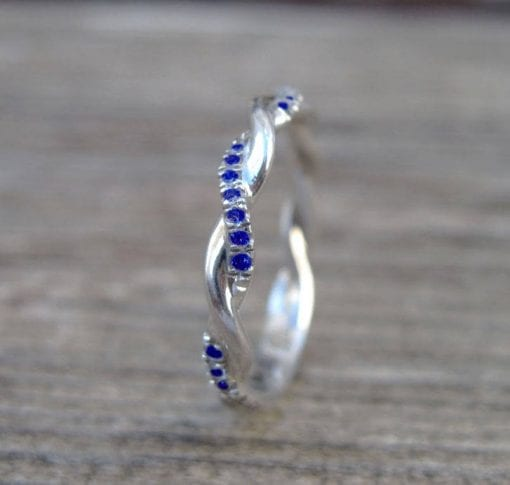Sapphire Wedding Band, Sapphire Infinity Knot Ring