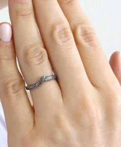 Silver Chevron Wedding Band, Silver Curved Band