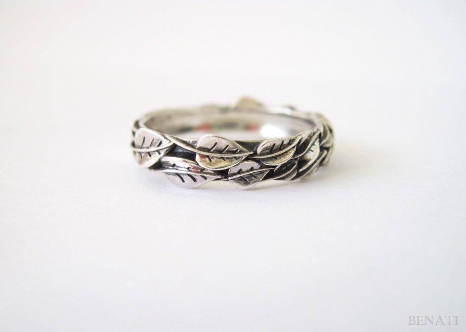 Silver Woodland Leaf Ring-Leaf Engagement Ring-Rustic Ring-Promise Ring-silver leaf ring