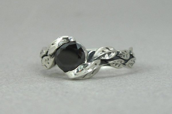 Silver Leaf Ring With Black Gemstone, Black Leaf Ring