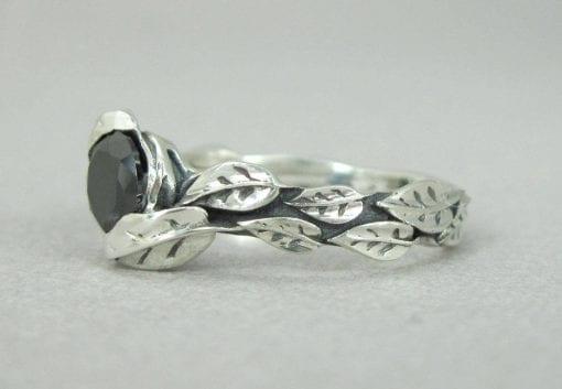 Silver Leaf Ring With Black Gemstone, Black Leaf Ring