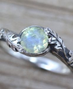 Silver Leaf Ring With Moonstone Gemstone, Moonstone Leaf Ring