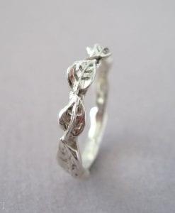 Silver Leaf Wedding Band, Silver Wedding Leves Band