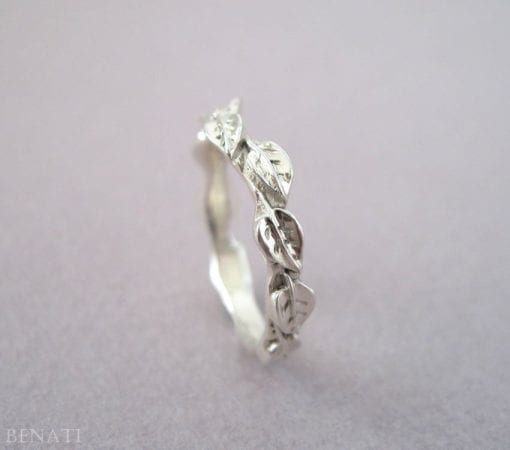 Silver Leaf Wedding Band, Silver Wedding Leves Band