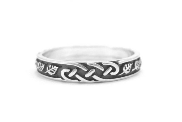 Silver Wedding Band, Silver Wedding Ring With Leaves