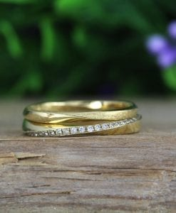 Solid Gold Mobius Diamond Wedding Ring Set, Stackable Diamond Wedding Band