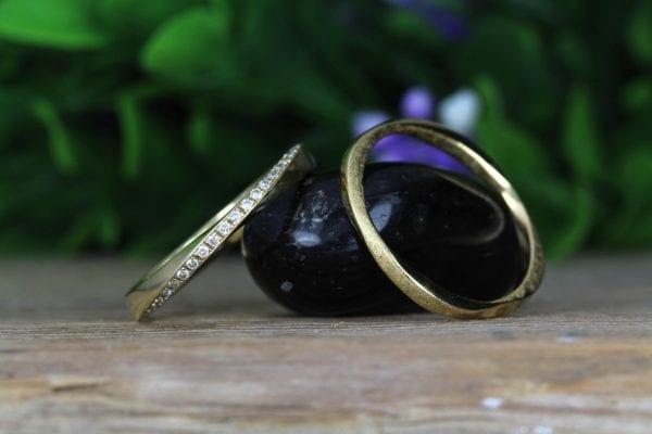 Solid Gold Mobius Diamond Wedding Ring Set, Stackable Diamond Wedding Band
