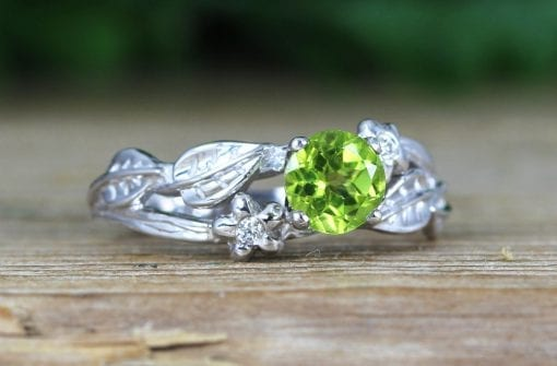 Twig Flower Peridot Engagement Ring, Leaf Engagement Ring With Peridot