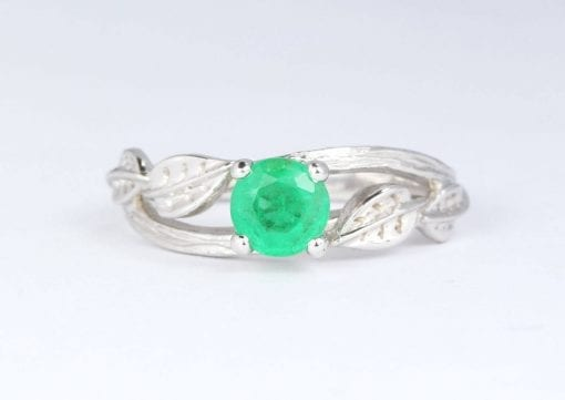 Twig Natural Emerald Engagement Ring, Leaves Ring