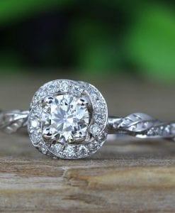 Unique Bridel Engagement Ring Set, Matching Halo Engagement Ring and Diamond Wedding Band