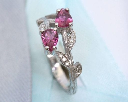 Unique engagement ring, Pear cut pink leaves engagement ring