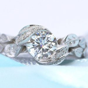 Unique Nature Leaf Ring, Moissanite Engagement Ring