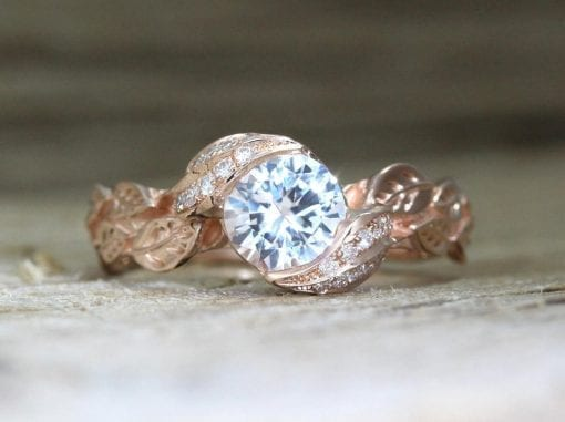 Unique Nature Leaf Ring, Moissanite Engagement Ring