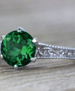 Vintage Emerald Filigree Engagement Ring