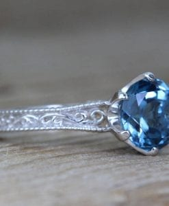 Vintage Engagement Ring, Blue Topaz Ring
