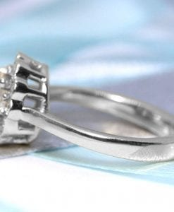 Vintage Moissanite Engagement Ring, Moissanite Halo Ring White Gold Antique Halo Anniversary Ring