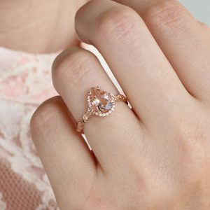 Vintage Pear Morganite Ring, Rose Gold Diamond Engagement Ring