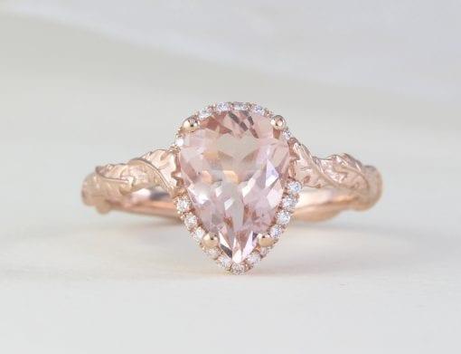Vintage Pear Morganite Ring, Rose Gold Diamond Engagement Ring