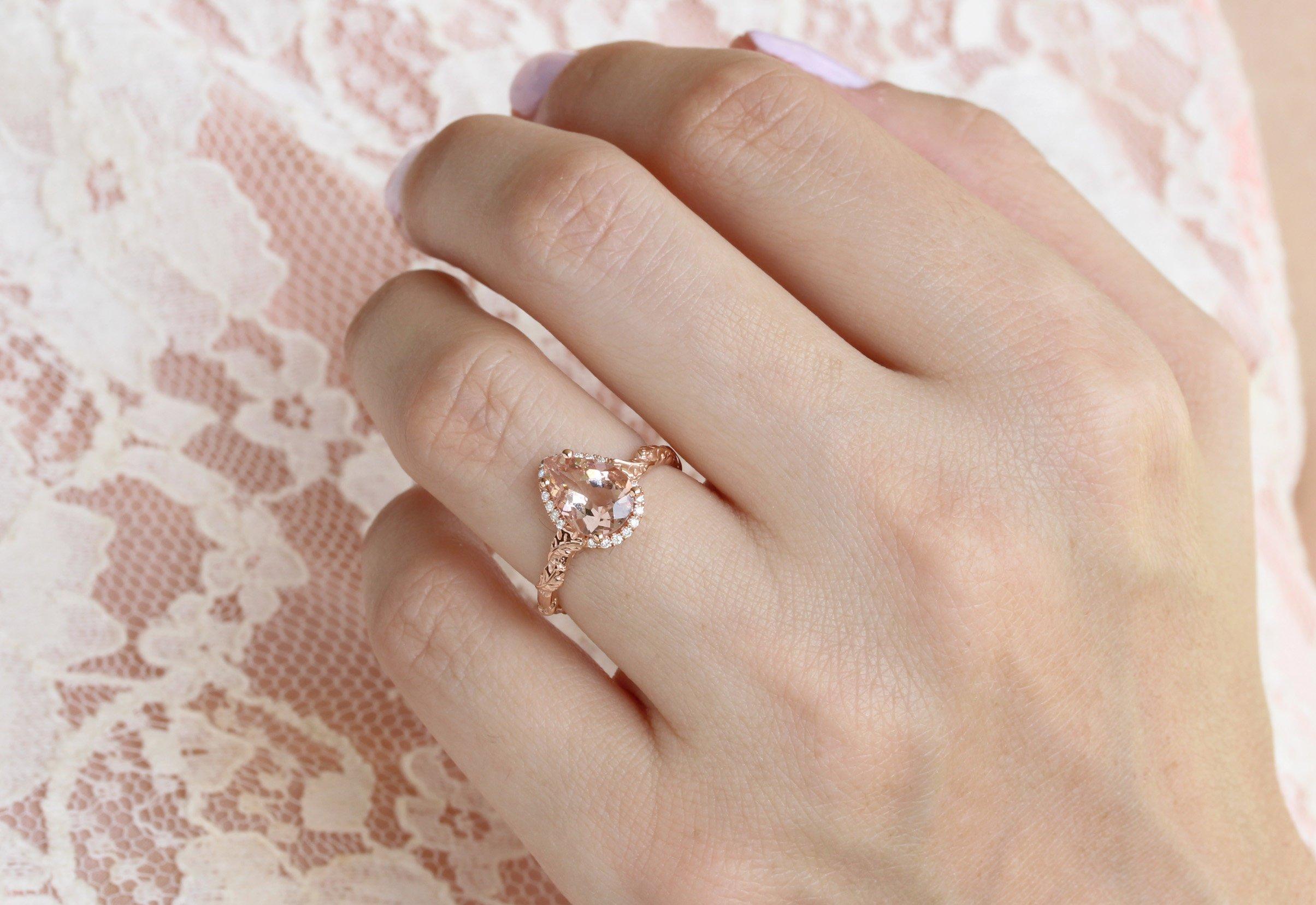 Morganite Unique Engagement Ring 1 5 Carat Nature Leaves Pear Ring Benati