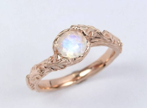 Vintage Rainbow Moonstone Engagement Ring, Floral Rose gold Nature Inspired Ring