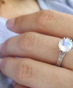 Vintage Rainbow Moonstone Scroll Filigree Ring 14k White gold