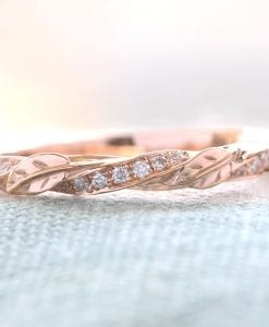 Vintage Rose Gold Leaf Wedding Band, Nature Inspired Diamond Wedding Band