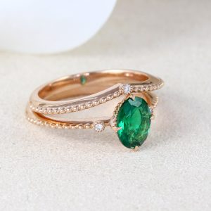 Vintage Wedding Ring Set, Oval Emerald Ring Rose Gold Promise Antique Emerald Ring