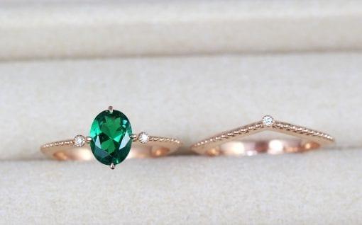 Vintage Wedding Ring Set, Oval Emerald Ring Rose Gold Promise Antique Emerald Ring