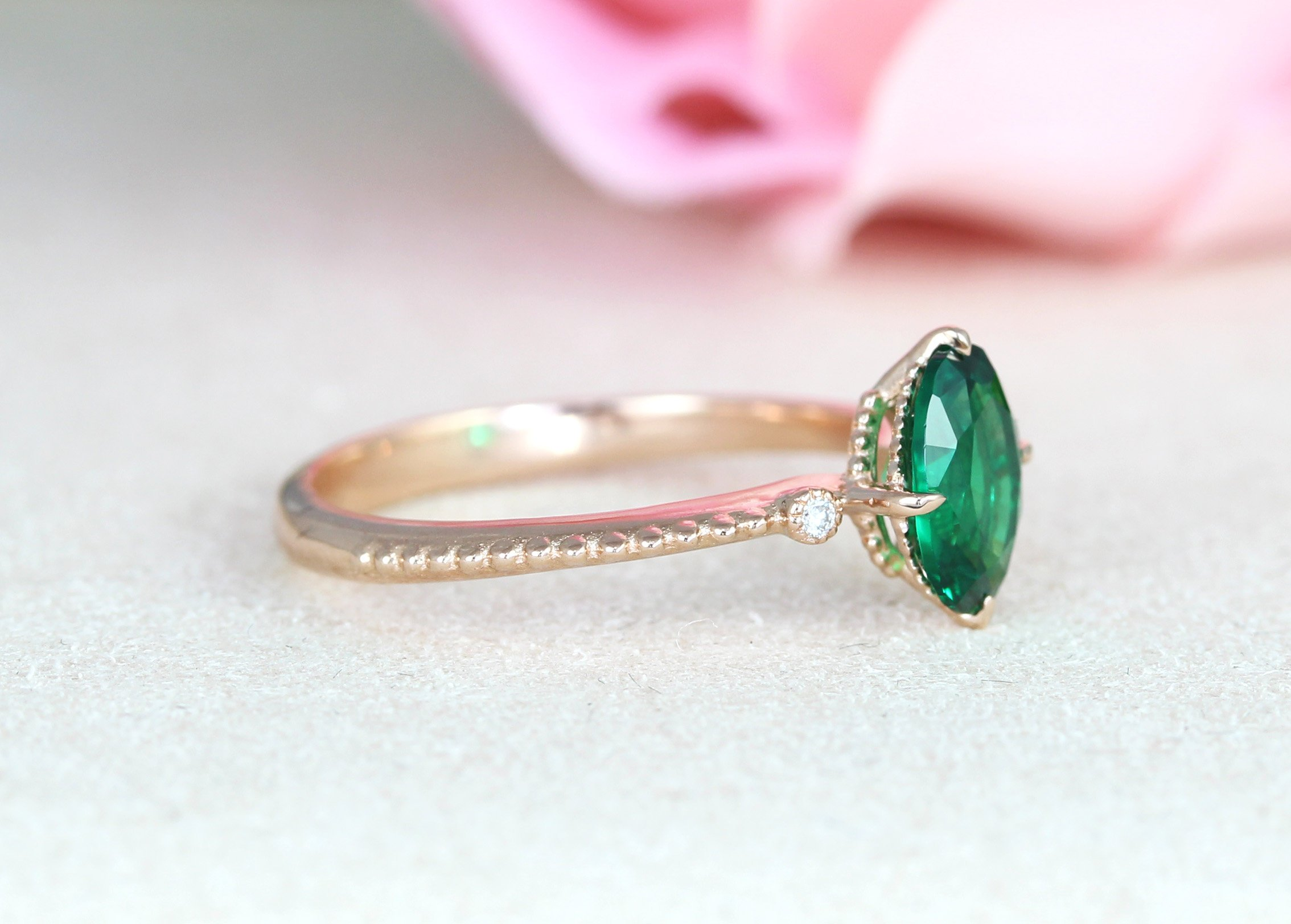 Vintage Wedding Ring Set Oval Emerald Ring Rose Gold Promise Antique Emerald Ring Benati