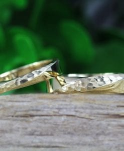Wedding Bands Set, Hammered Mobius Wedding Set
