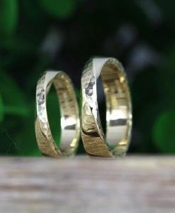 Wedding Bands Set, Hammered Mobius Wedding Set