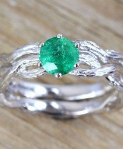 Wedding Ring Set, Natural emerald bridal set