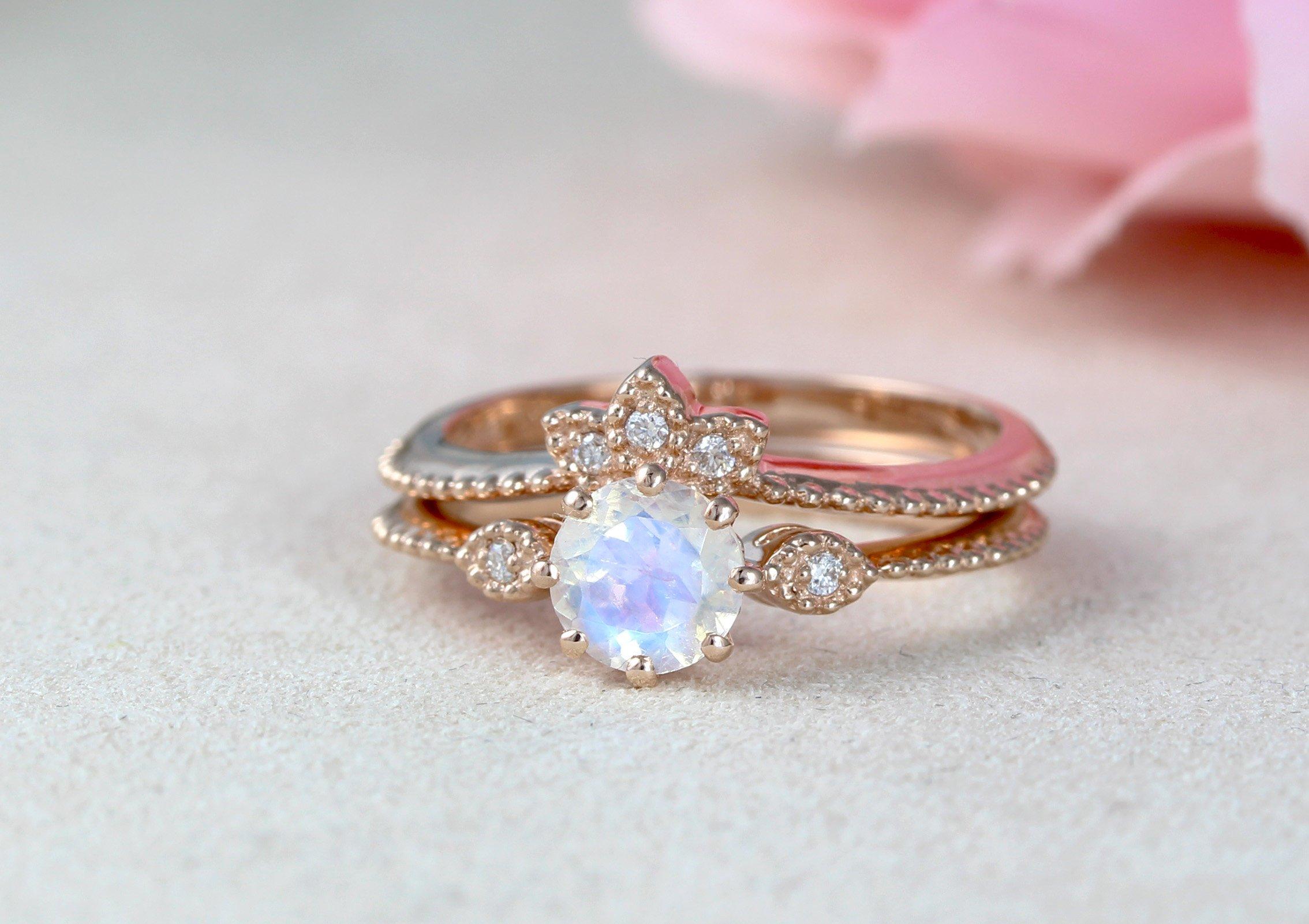 Moonstone Engagement Ring Vintage Rose Gold Antique Ring Rainbow Moonstone Ring Promise Anniversary Gift For Christmas Benati