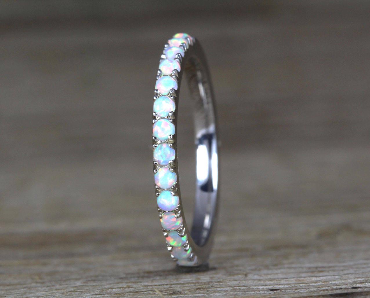 White Opal Eternity Band Opal Ring Benati