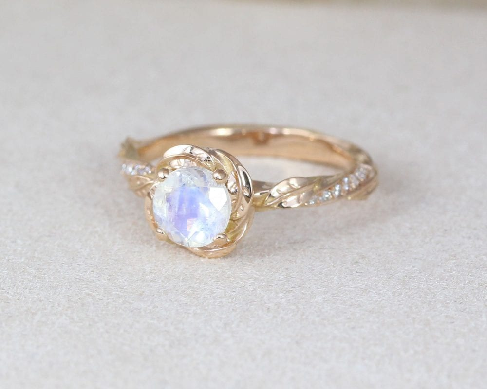 moonstone ring, moonstone engagement ring, leaf engagement ring