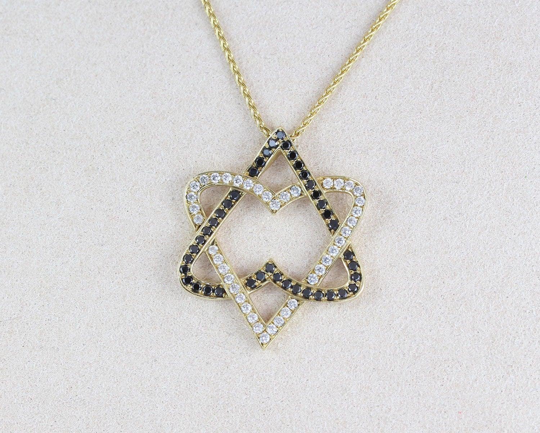 Diamond Star Of David Necklace Double Heart Diamond Magen David Pendant Jewish Jewelry Bat Mitzvah Gift Gold Anniversary Judaica Gift Benati