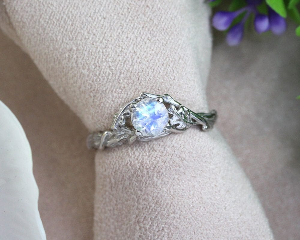 moonstone engagement ring, nature inspired leaf ring
