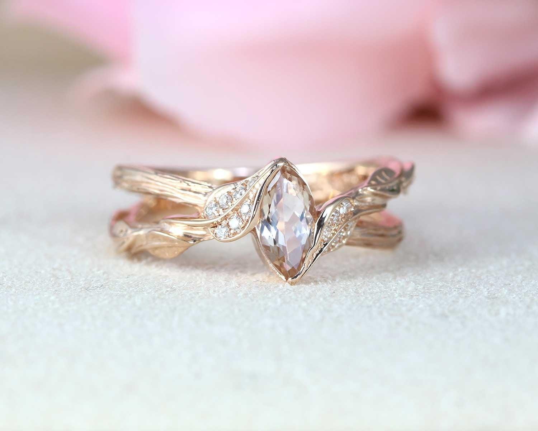 Morganite Ring Rose Gold Morganite Engagement Ring Vintage Marquise Morganite Ring Benati