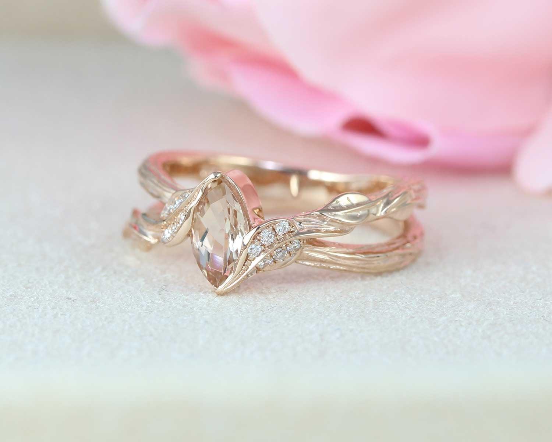Engagement Ring Morganite Engagement Vintage Ring Pink Engagement Ring Flower Ring Vintage Engagement Ring Engagement Ring Wedding Ring