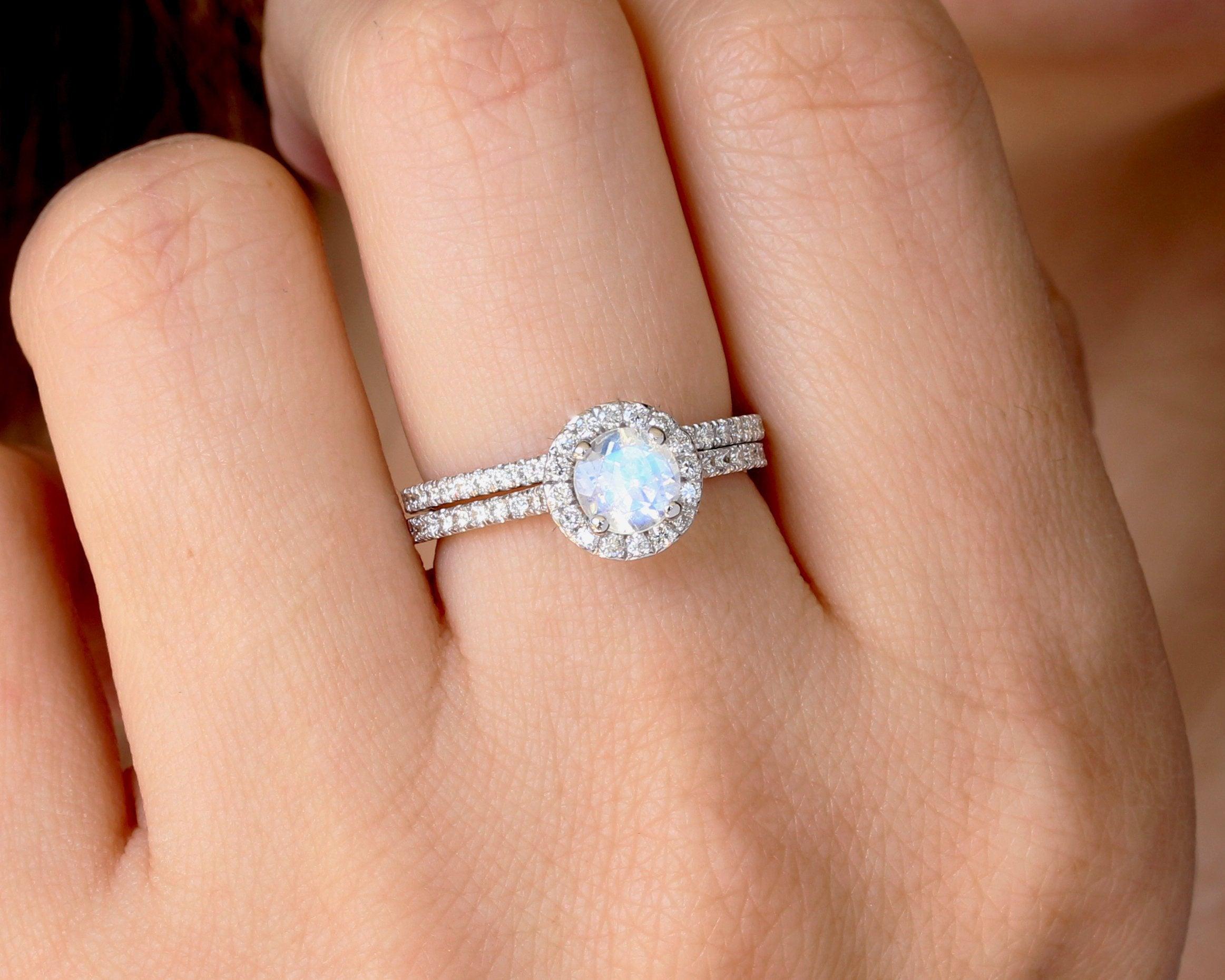 Set Diamond Halo Rainbow Moonstone Engagement Ring Wedding Ring Set Benati