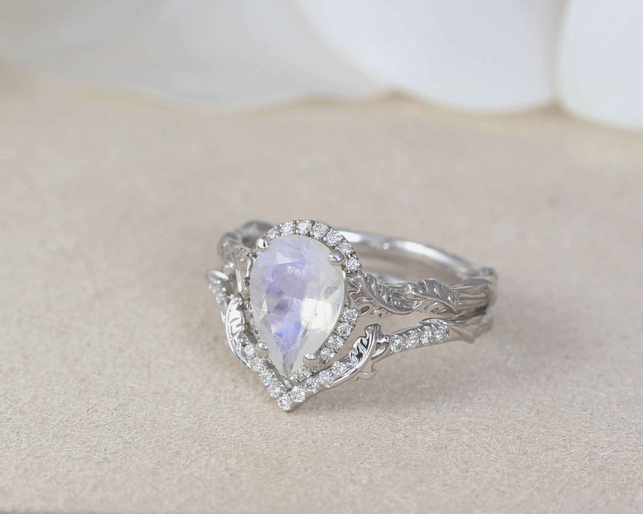 moonstone wedding ring set