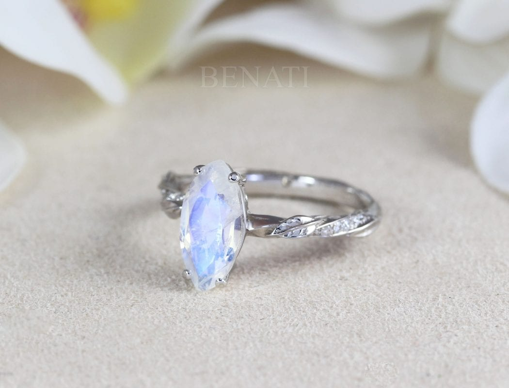 marquise moonstone ring, leaves ring